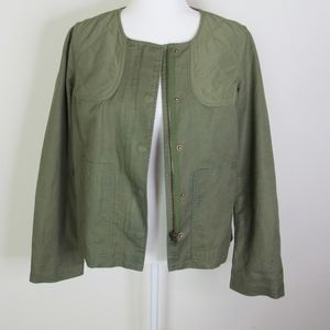 Boden Army Green Quilted Linen Jacket Size 6